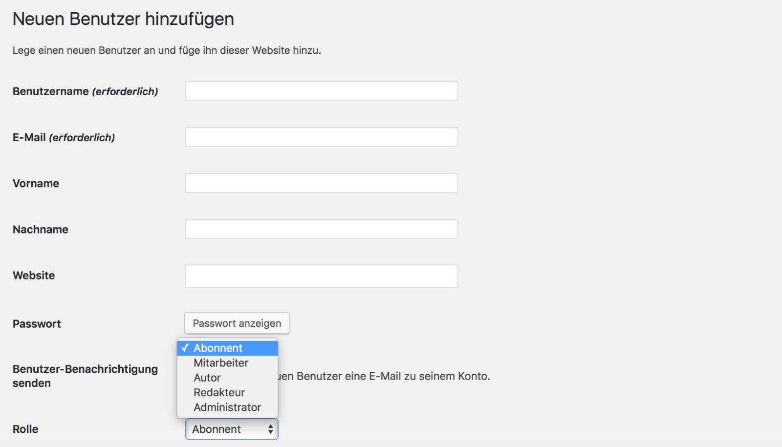 WordPress Benutzerrollen und Benutzer anlegen
