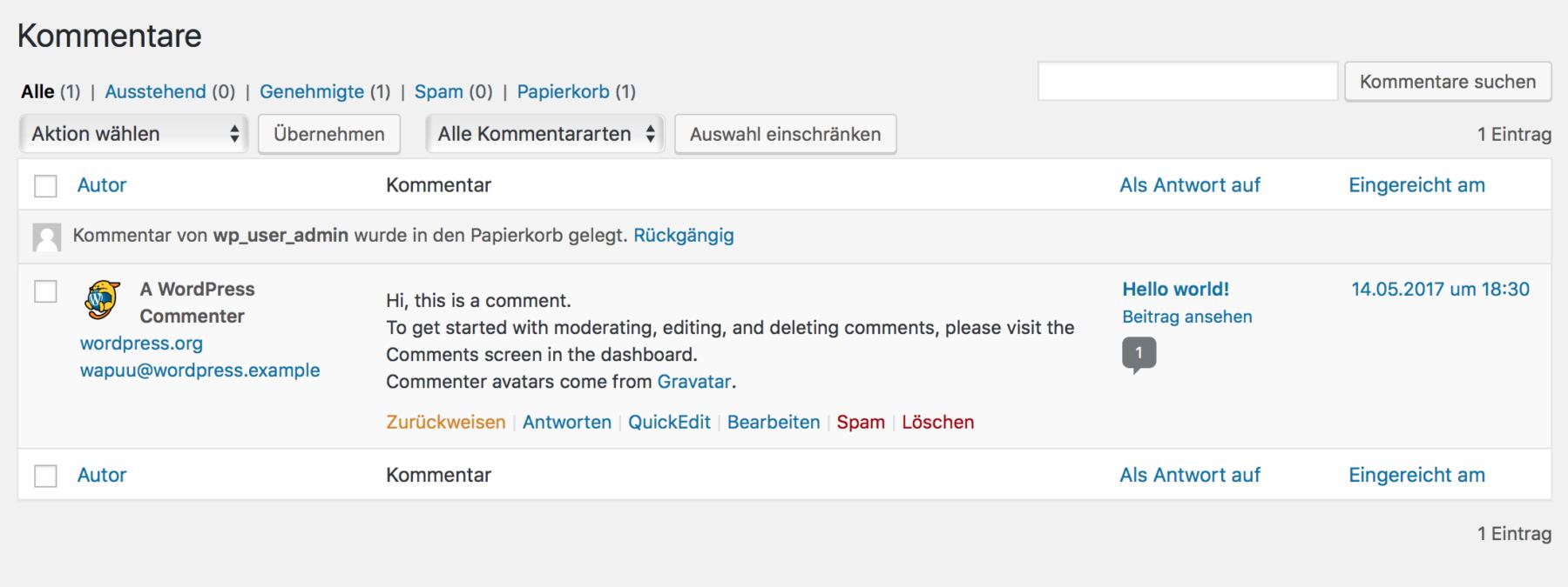 WordPress Kommentare zur Vernetzung von Nutzern und Webseiten Betreiber