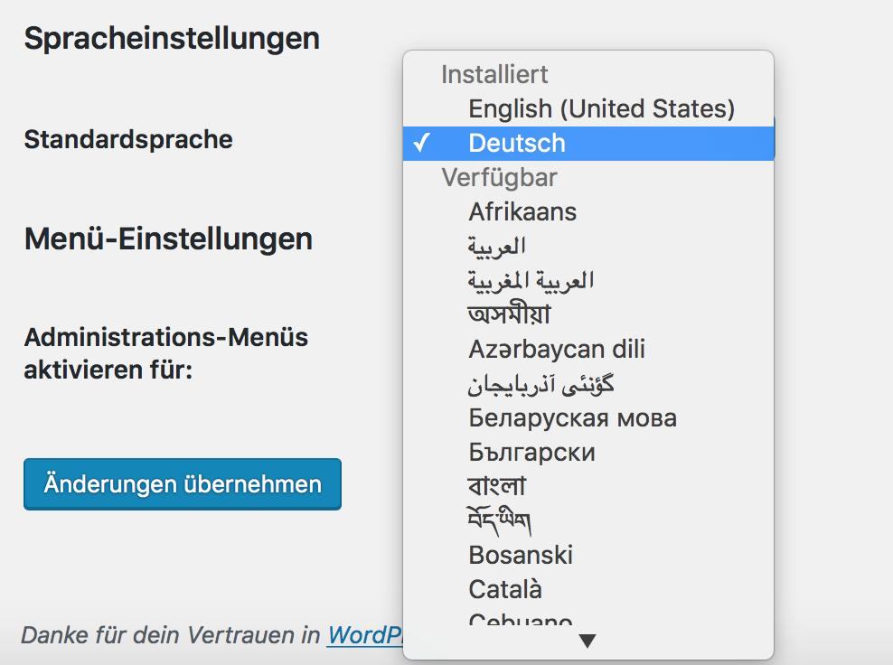 Wordpress Sprachpaket auswählen