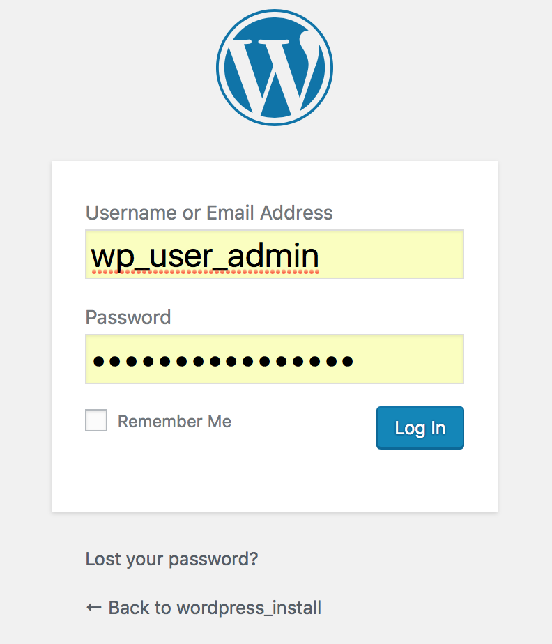 wp-login fertiggestellt