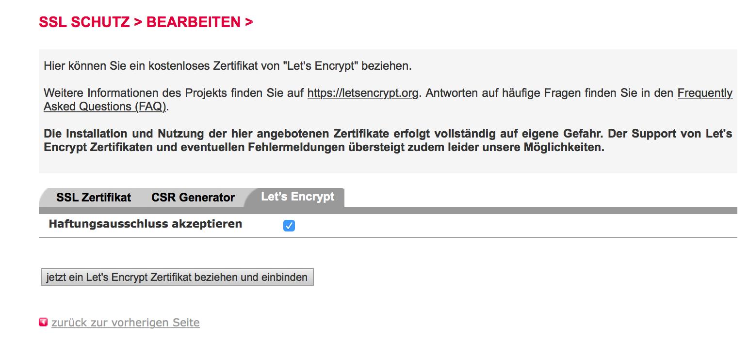 SSL-Schutz bearbeiten