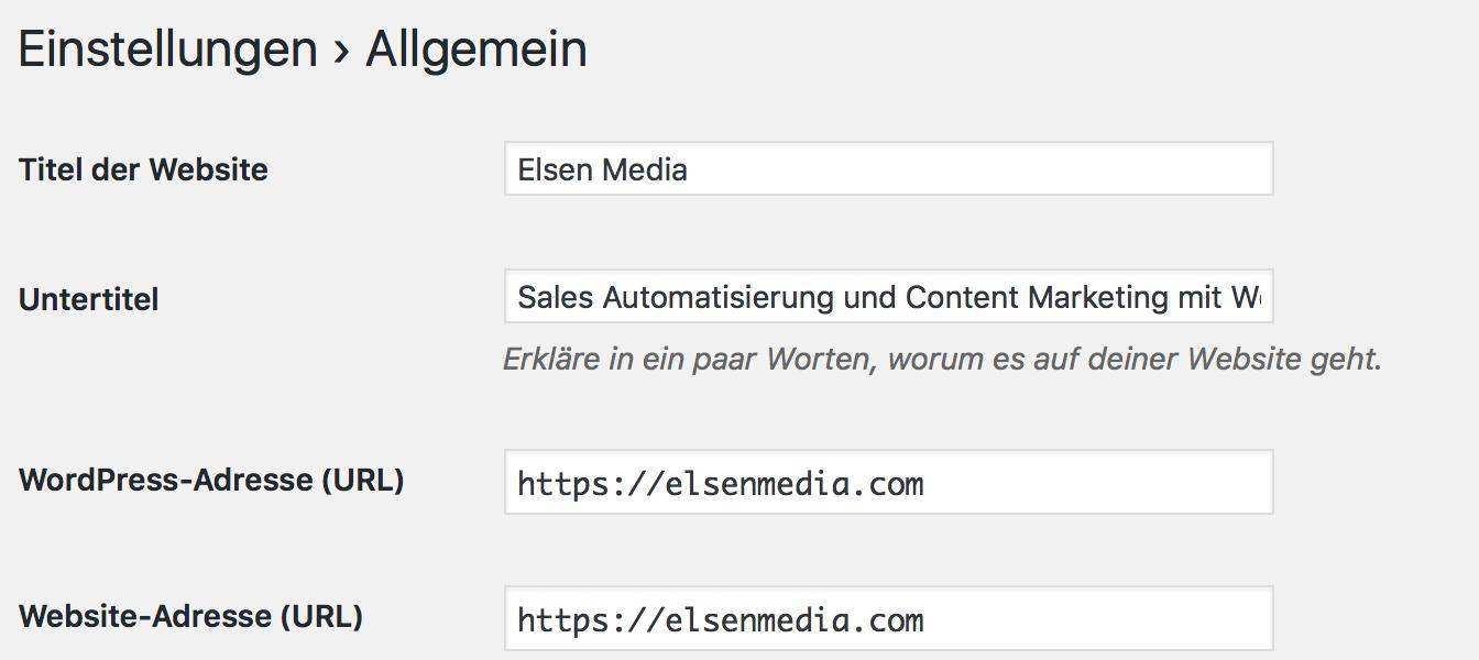 Wird ein SSL-Zertifikat genutzt, muss die Webseiten Adresse auf https umgestellt werden.