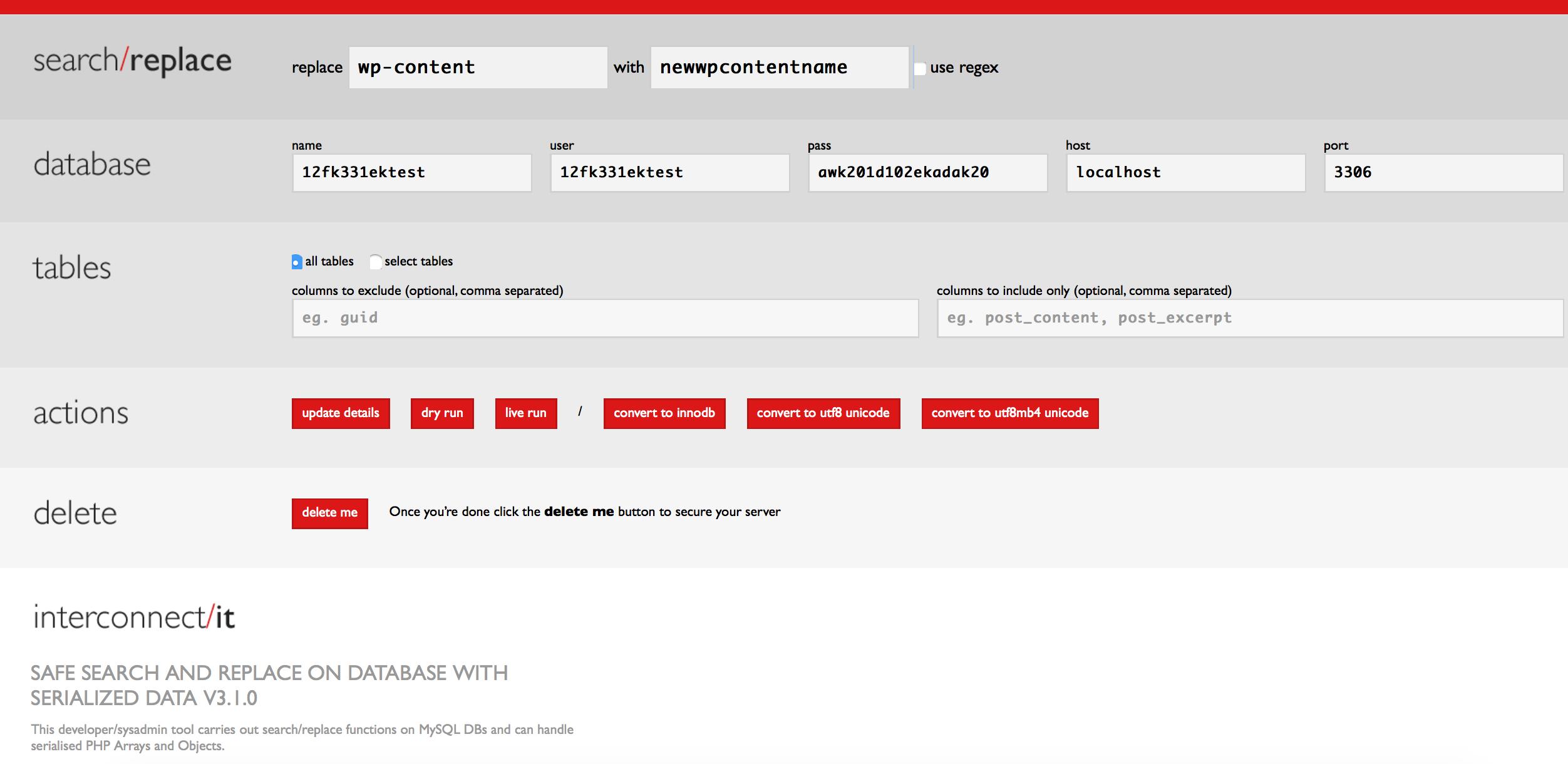 Search and Replace Tool nutzen um wp-content umbenennen zu können