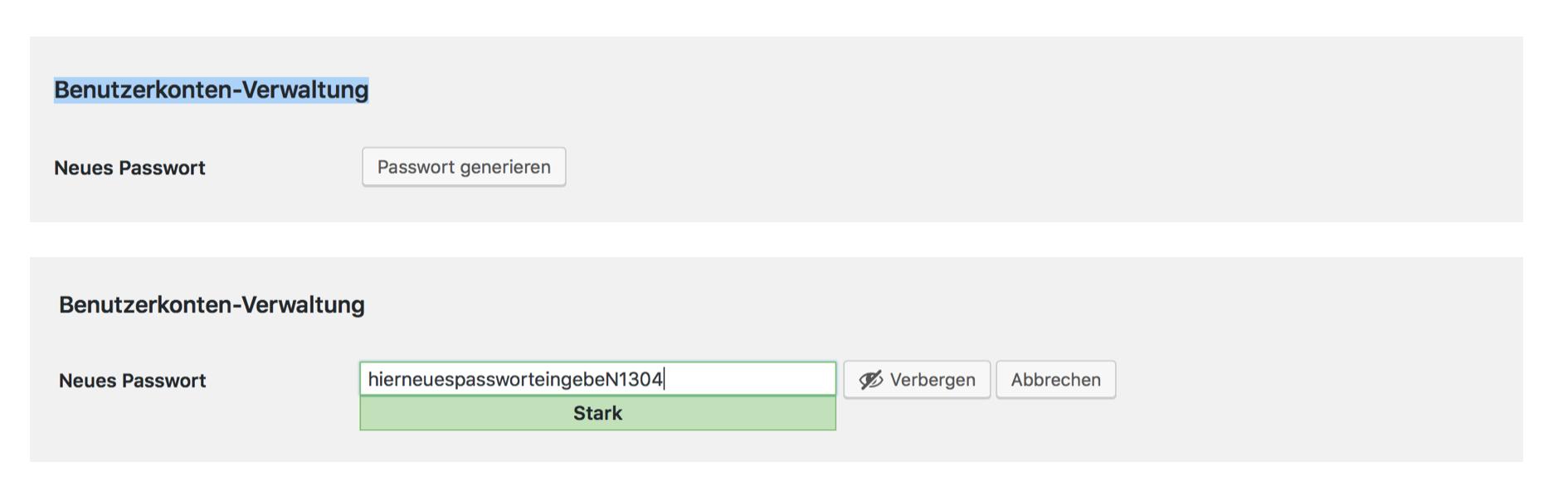 In der Benutzerverwaltung Passwörter festlegen