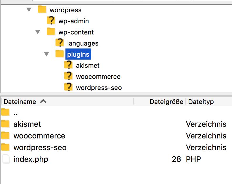 WooCommerce mit FTP Client installieren
