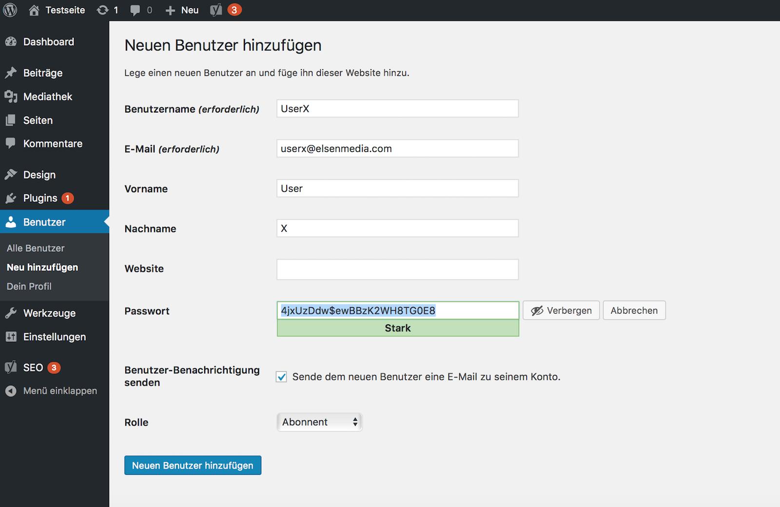 Neuen WordPress Benutzer anlegen
