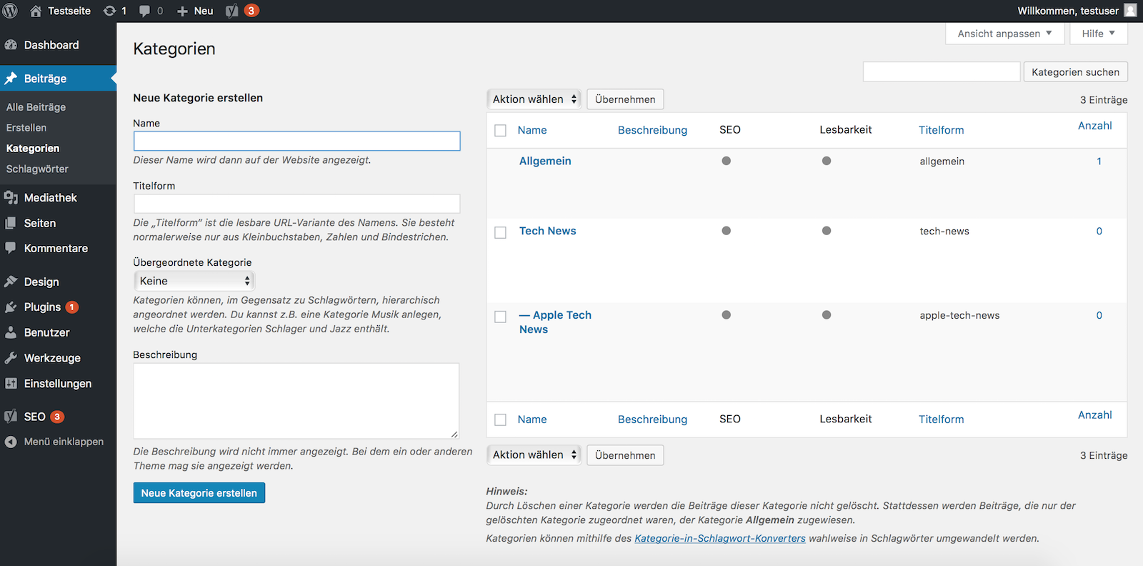 Kategorie in WordPress anlegen und verwalten