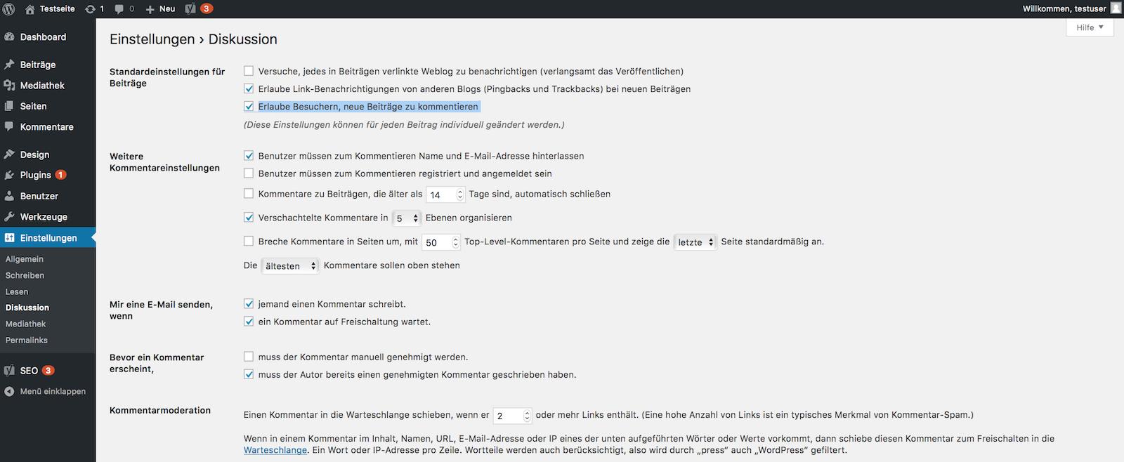 WordPress Kommentare aktivieren oder deaktivieren