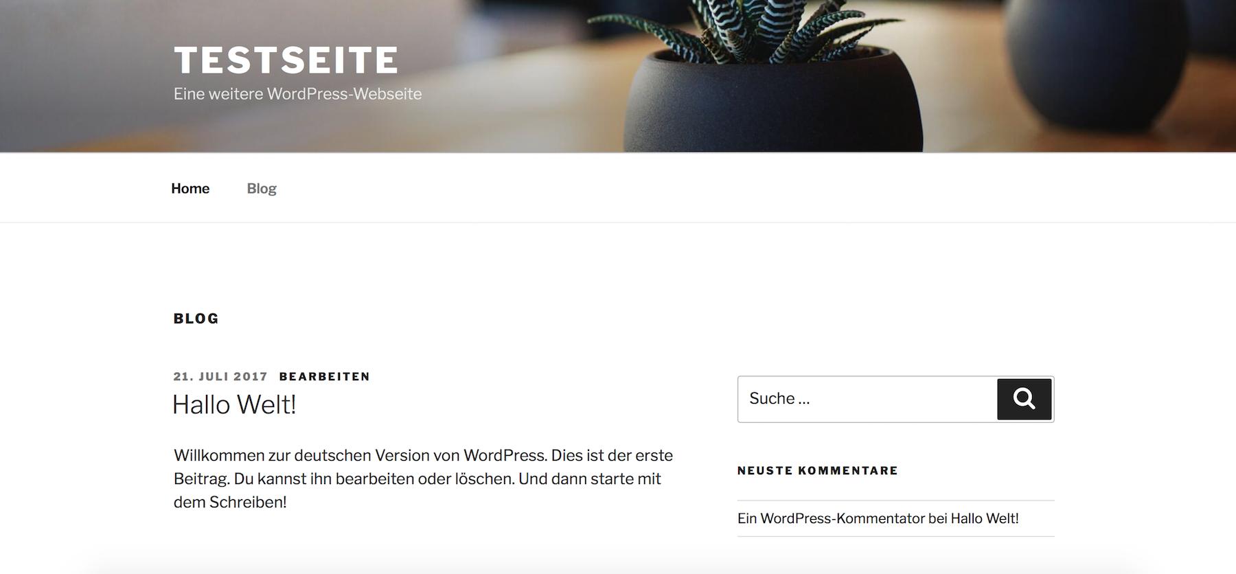 Nach der Neuinstallation einer WordPress-Webseite landen wir auf der Startseite