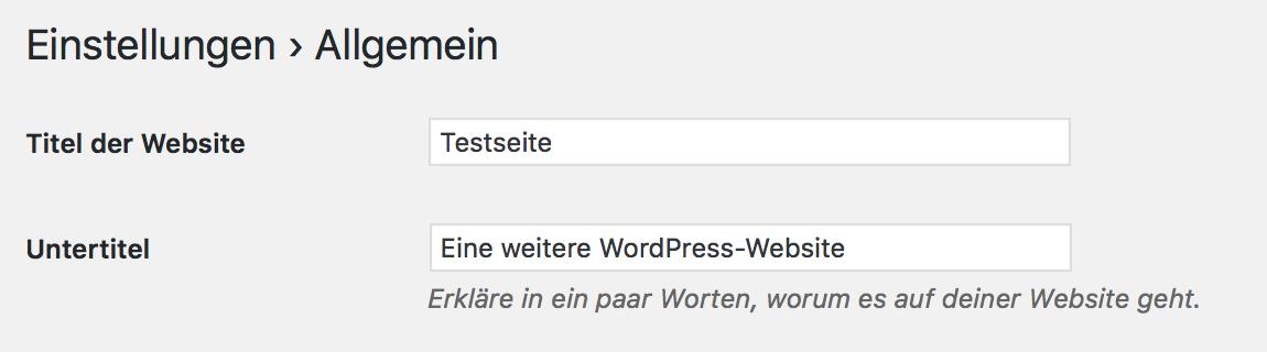 """WordPress richtig nutzen durch Änderung des Standard-Slogans """"eine weitere WordPress-Webseite"""""""