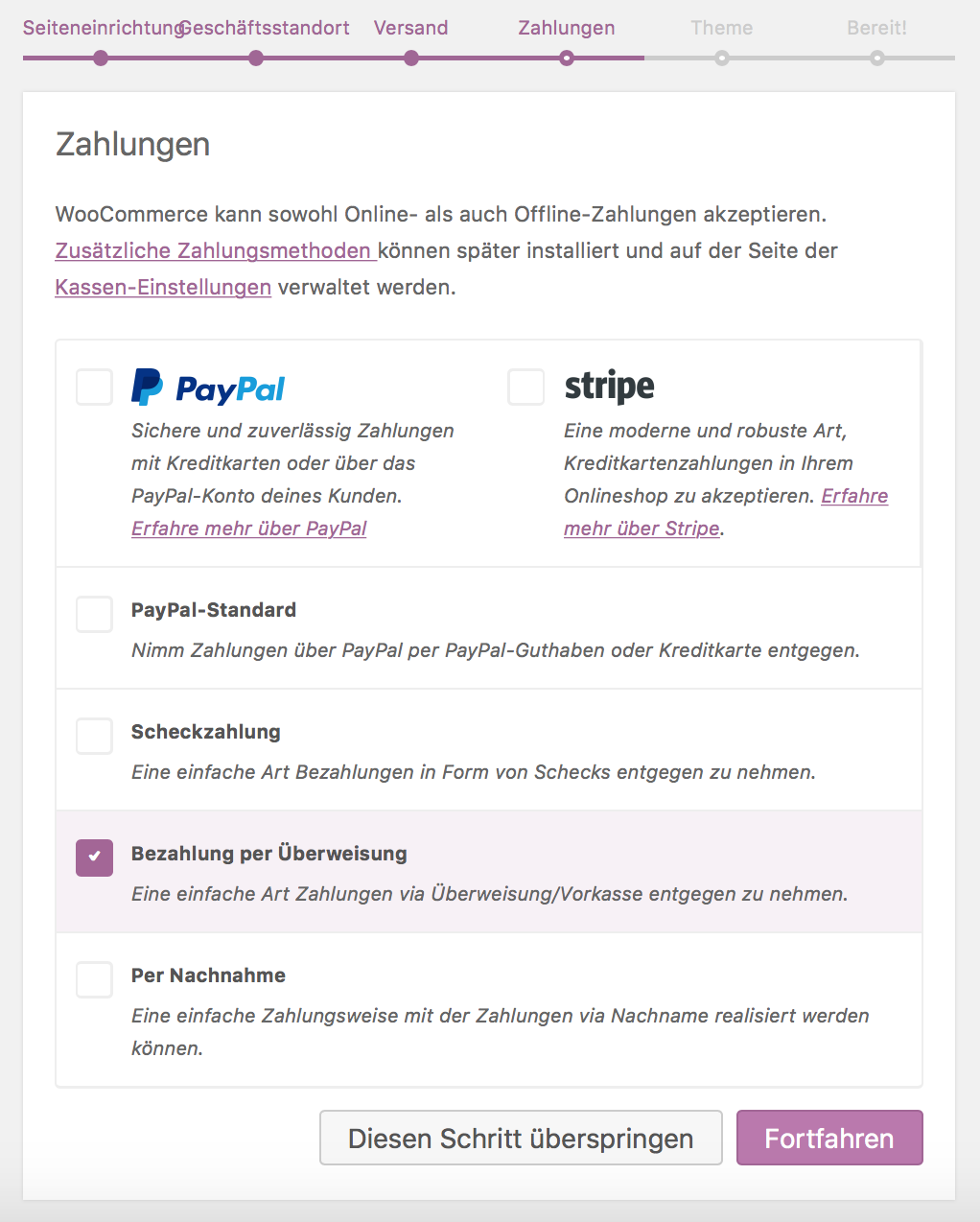 WooCommerce Zahlungsmöglichkeiten festlegen