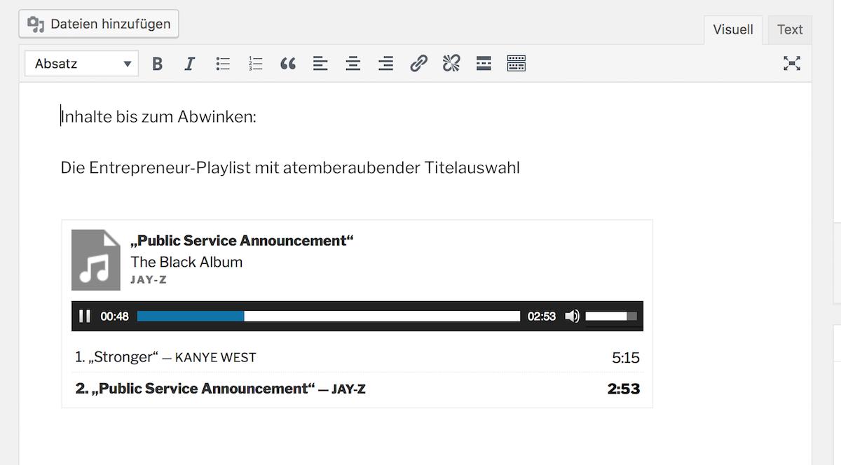 Mp3 Audio-Dateien mit WordPress abspielen