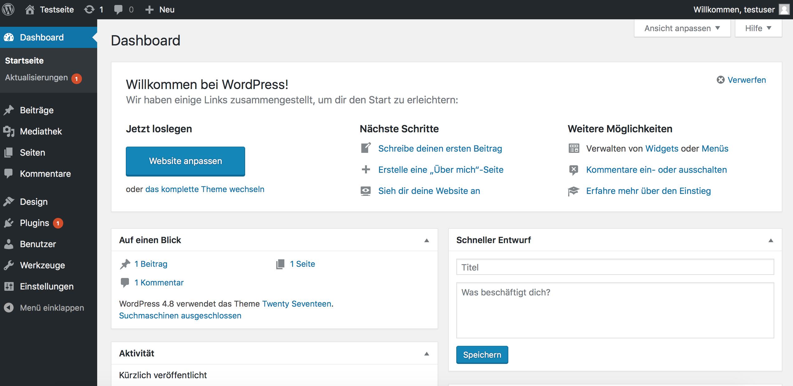 Wer WordPress richtig nutzen möchte, kommt um das Dashboard nicht herum.