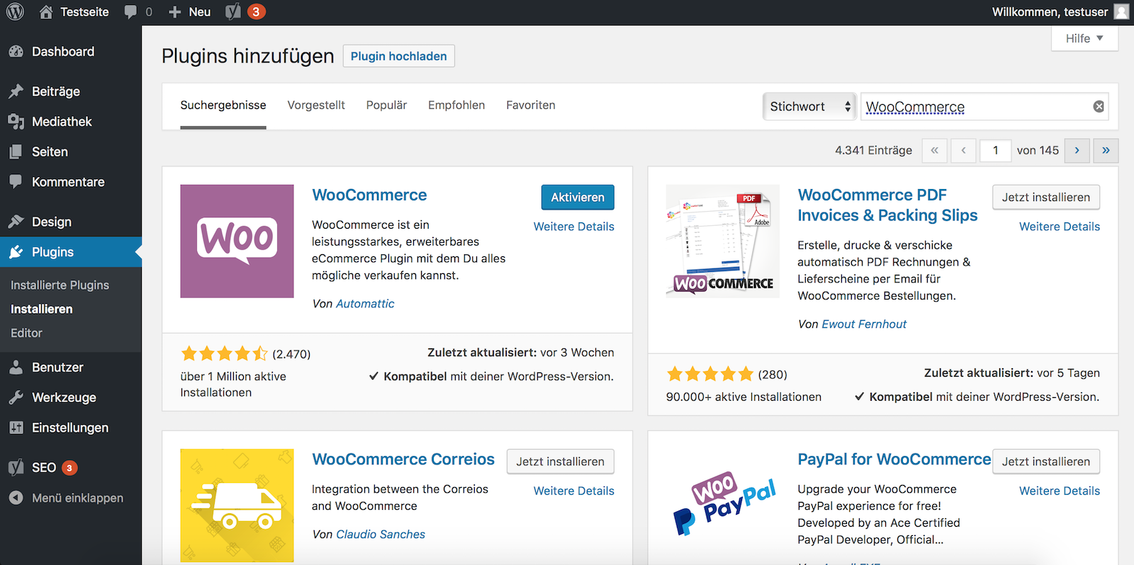 Shopsystem WooCommerce als Plugin installieren
