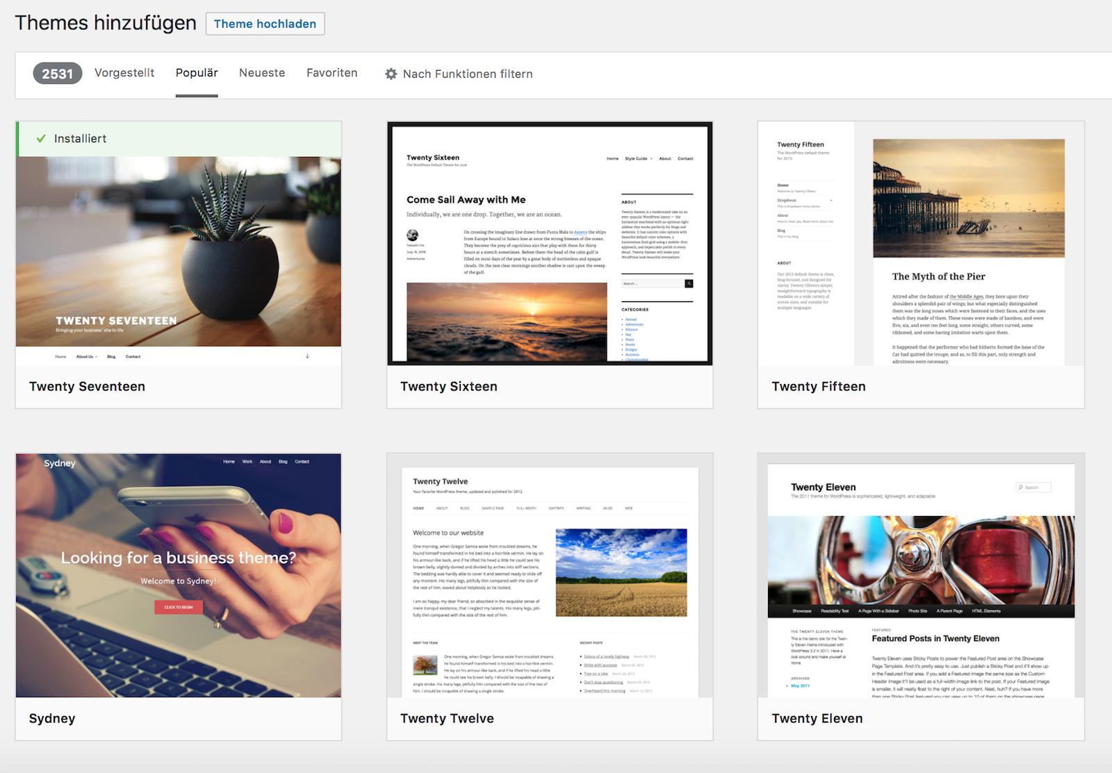 WordPress Themes über das Backend hinzufügen