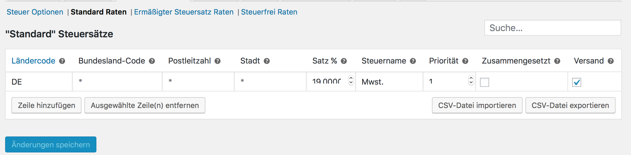 Standard Steuerrate in WooCommerce