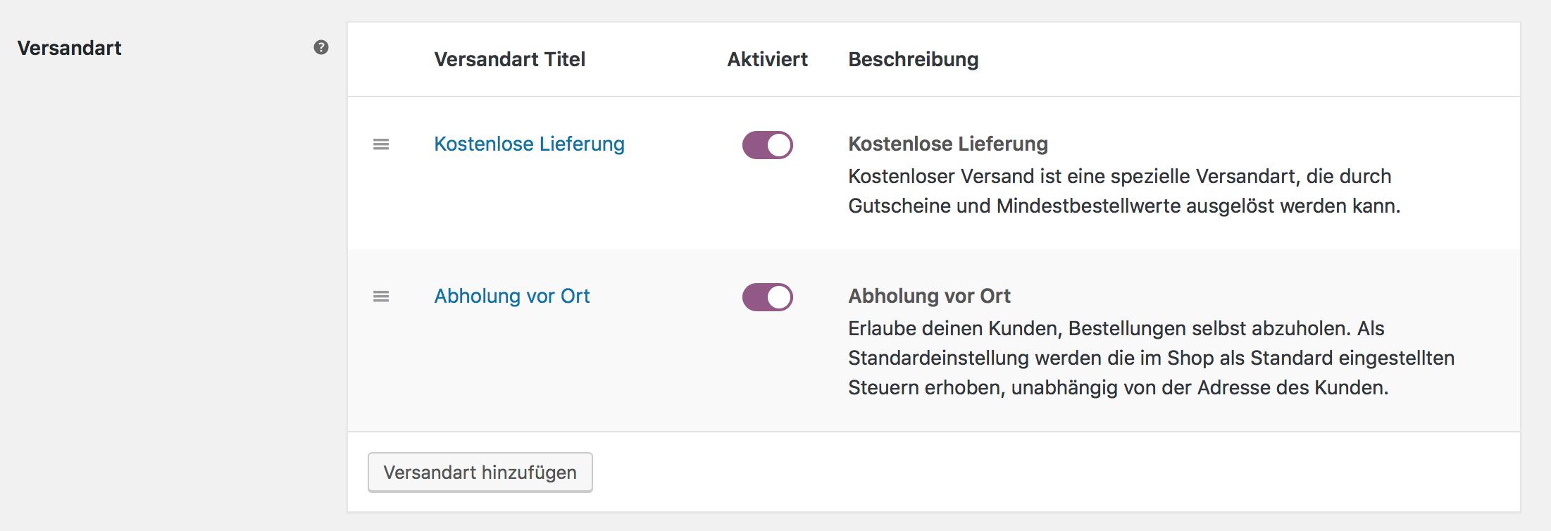 Festgelegte Versandarten für Versandzone Hamburg