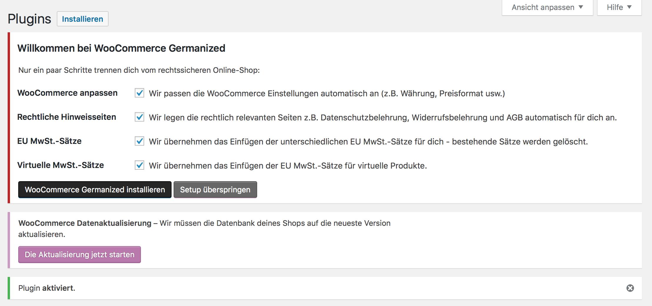 WooCommerce Germanized Datensätze importieren