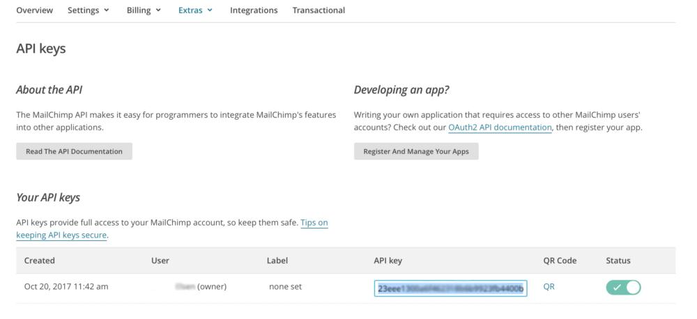 API Key in Mailchimp generieren