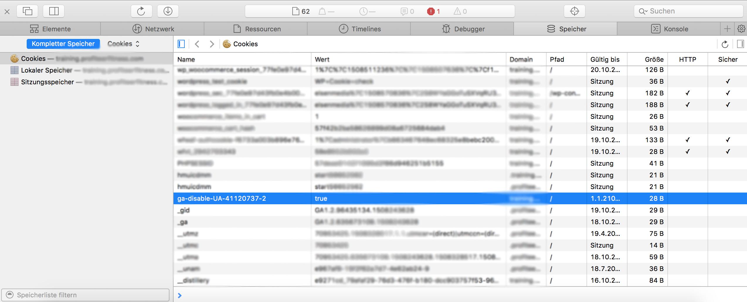 Entwicklerinformationen Tracking-Cookie