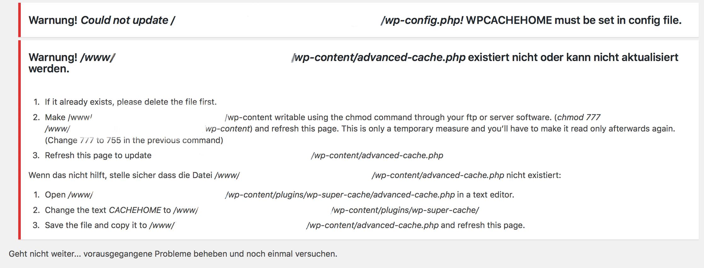 advanced-cache.php kann nicht aktualisiert werden