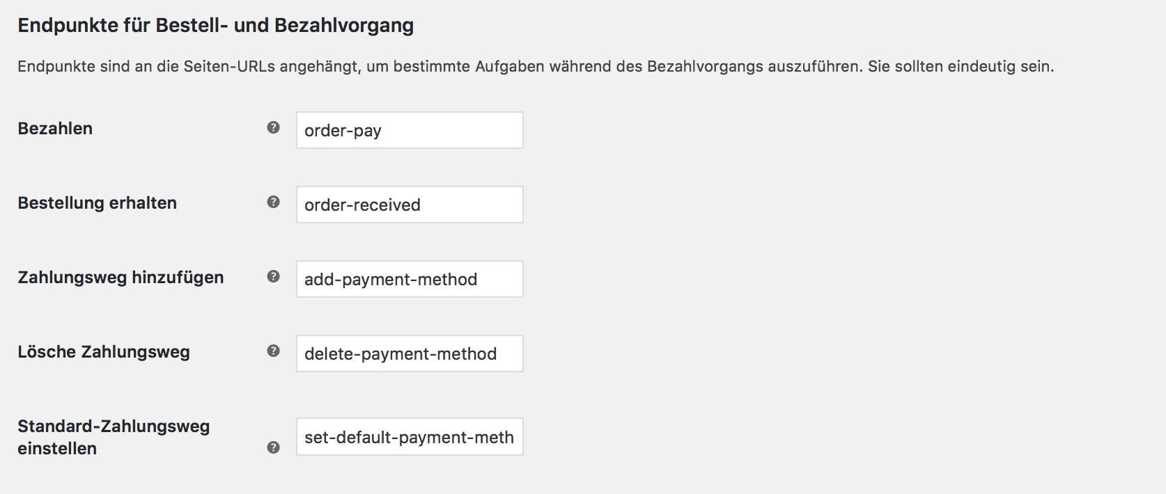 Endpunkte im WooCommerce Bezahlvorgang