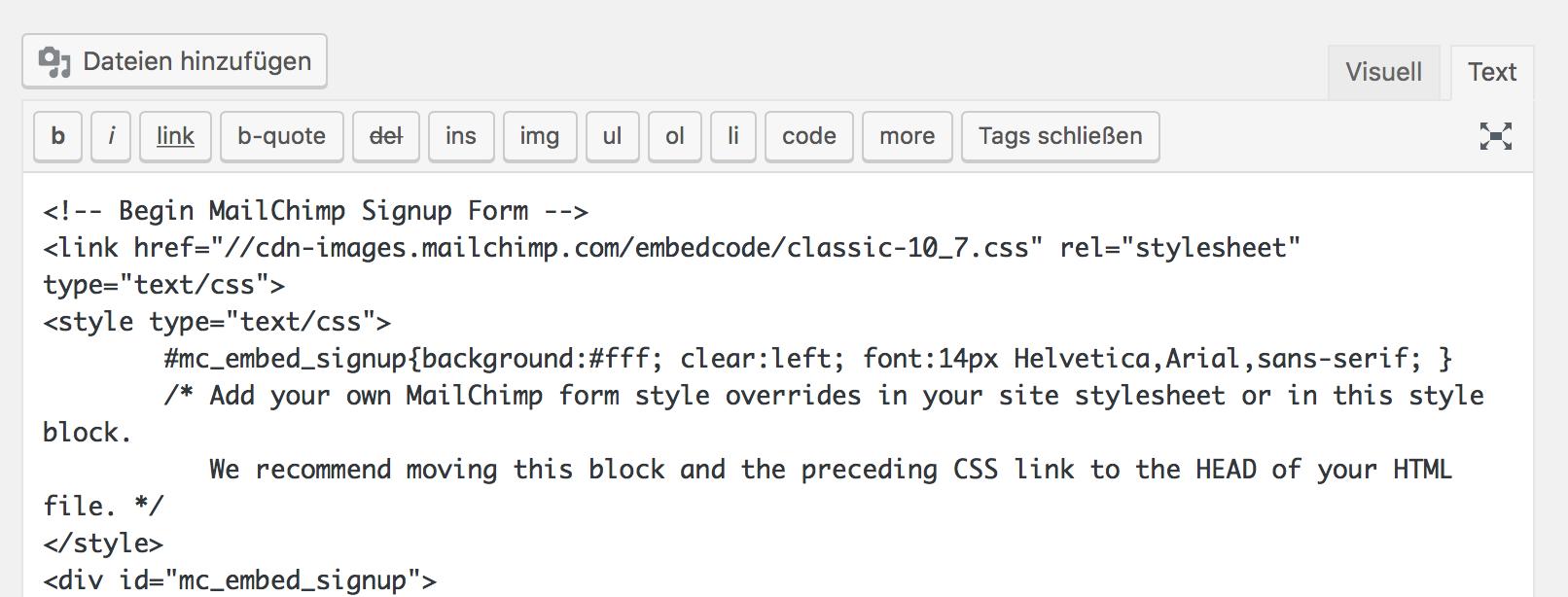 Mailchimp Integration des HTML-Signup Formulars in einer statischen Seite von WordPress