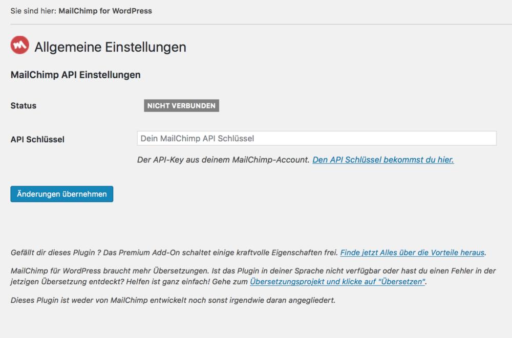 MailChimp API Key für WordPress einrichten