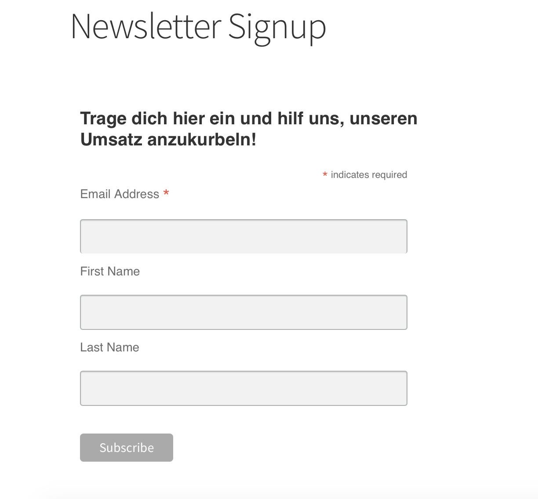 Mailchimp Formular integriert