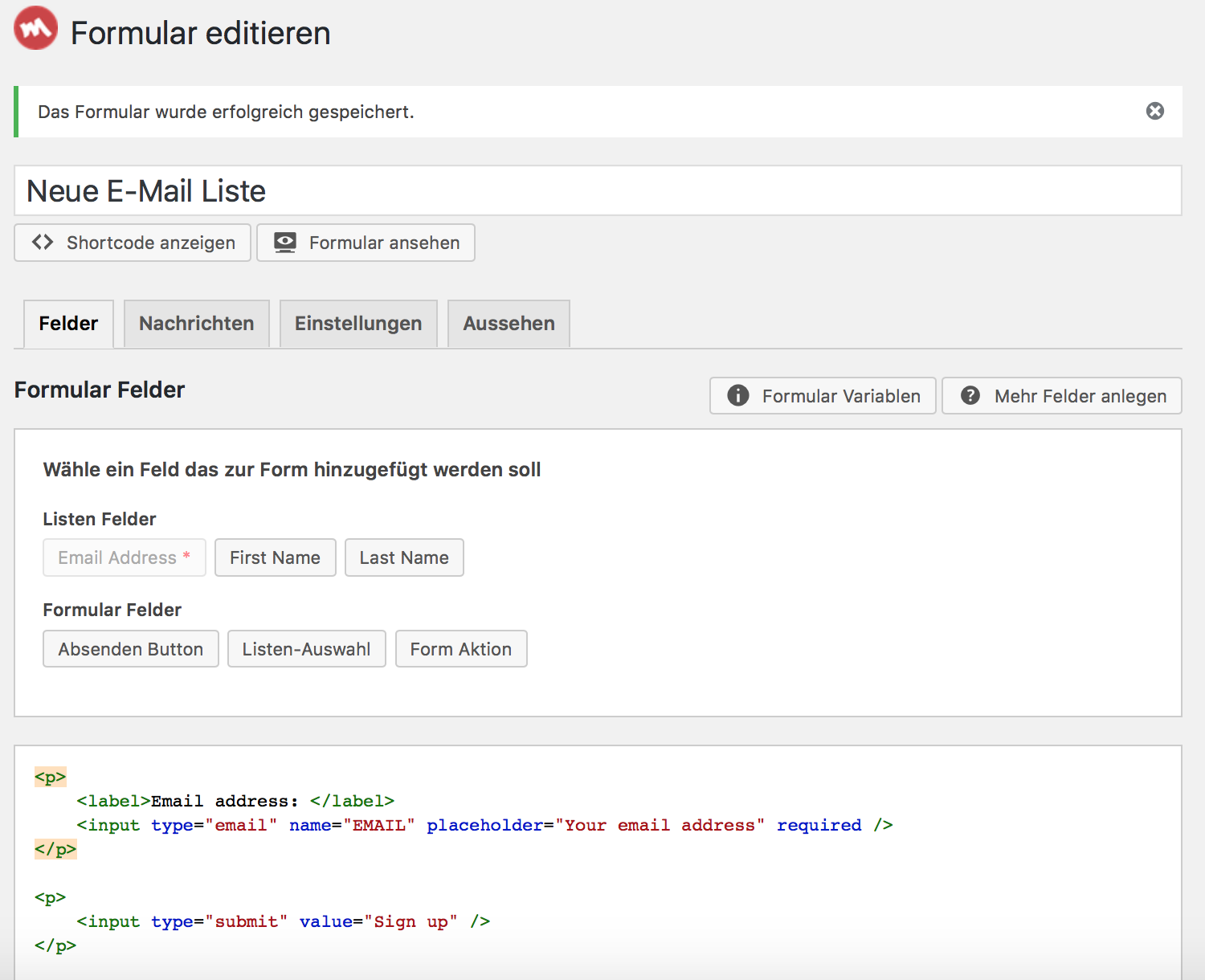 Der HTML Editor für Mailchimp for WordPress