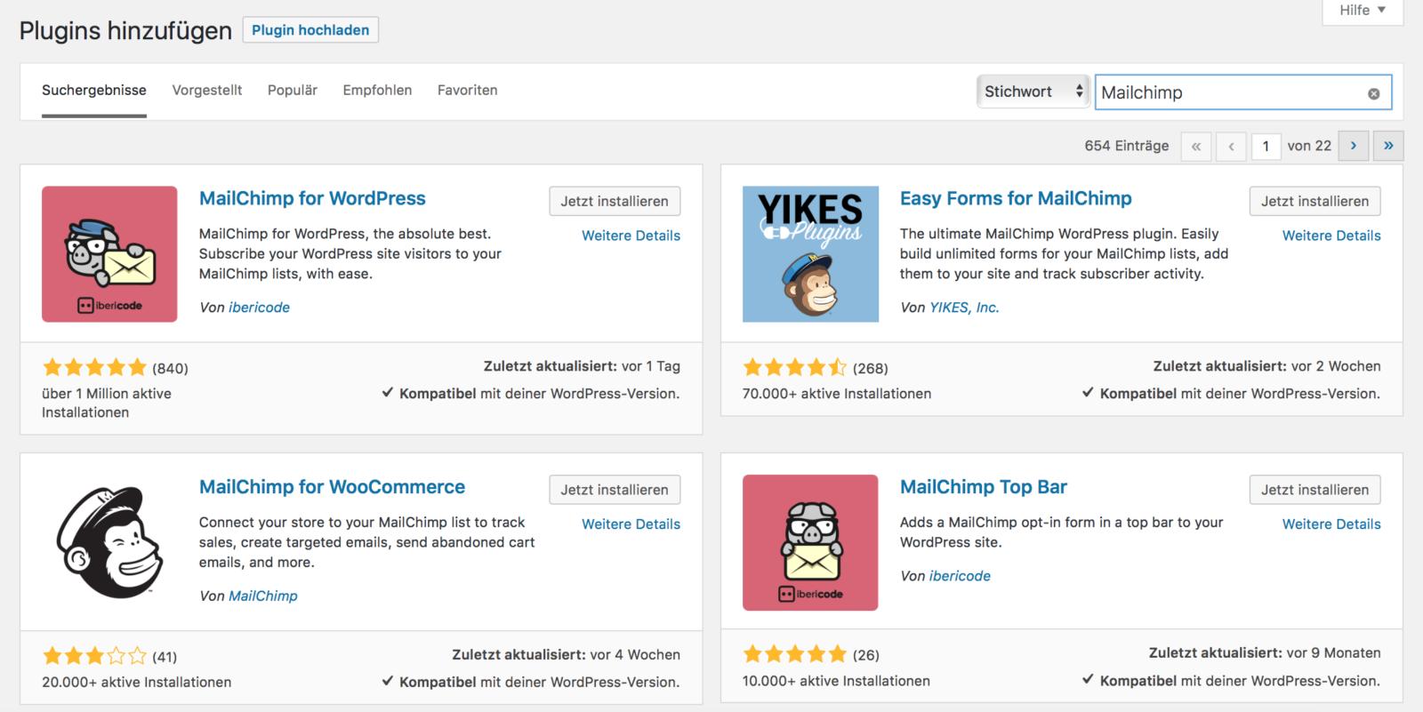 Viele Mailchimp Plugins für WordPress
