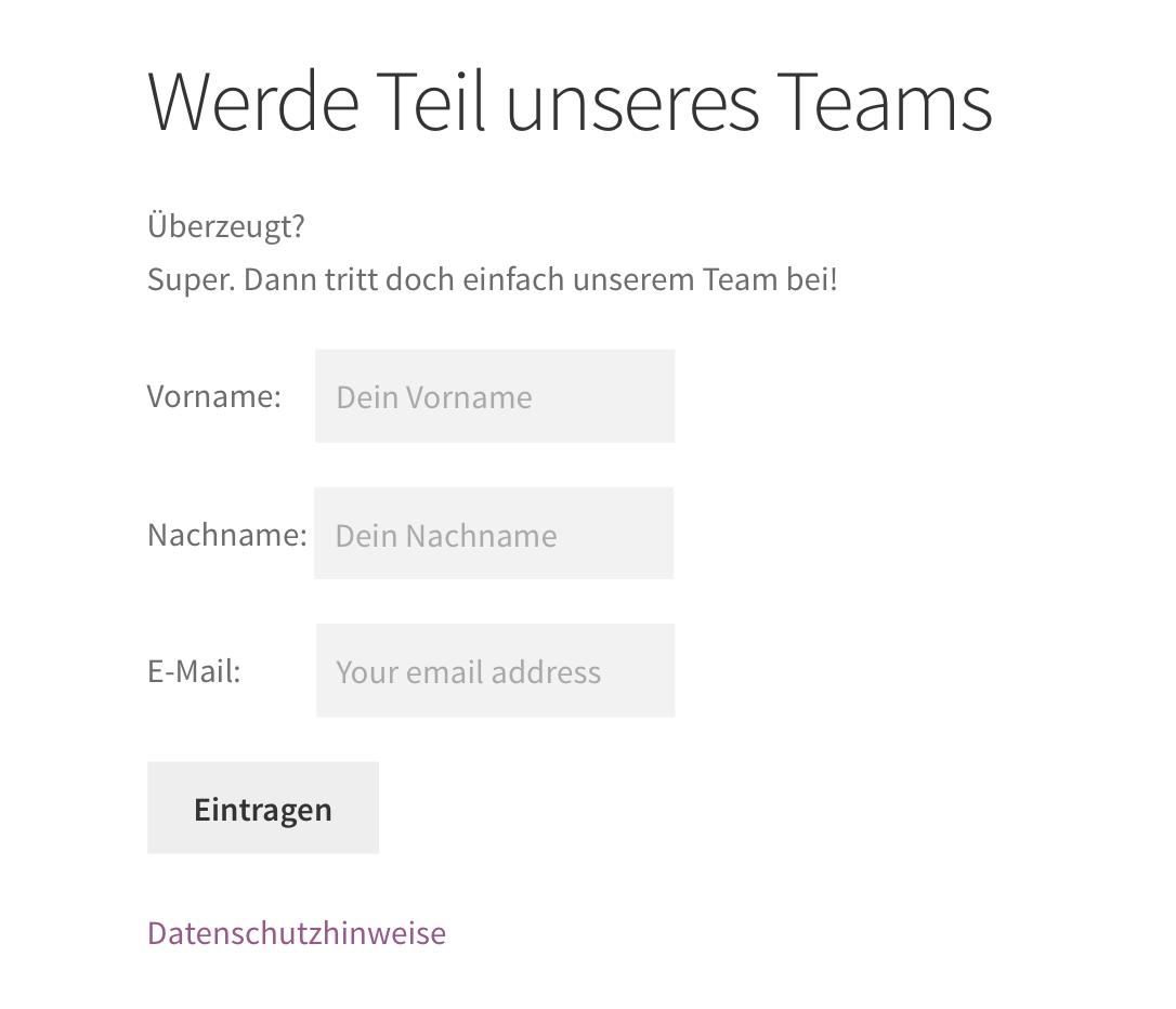 Fertige integriertes Mailchimp Formular