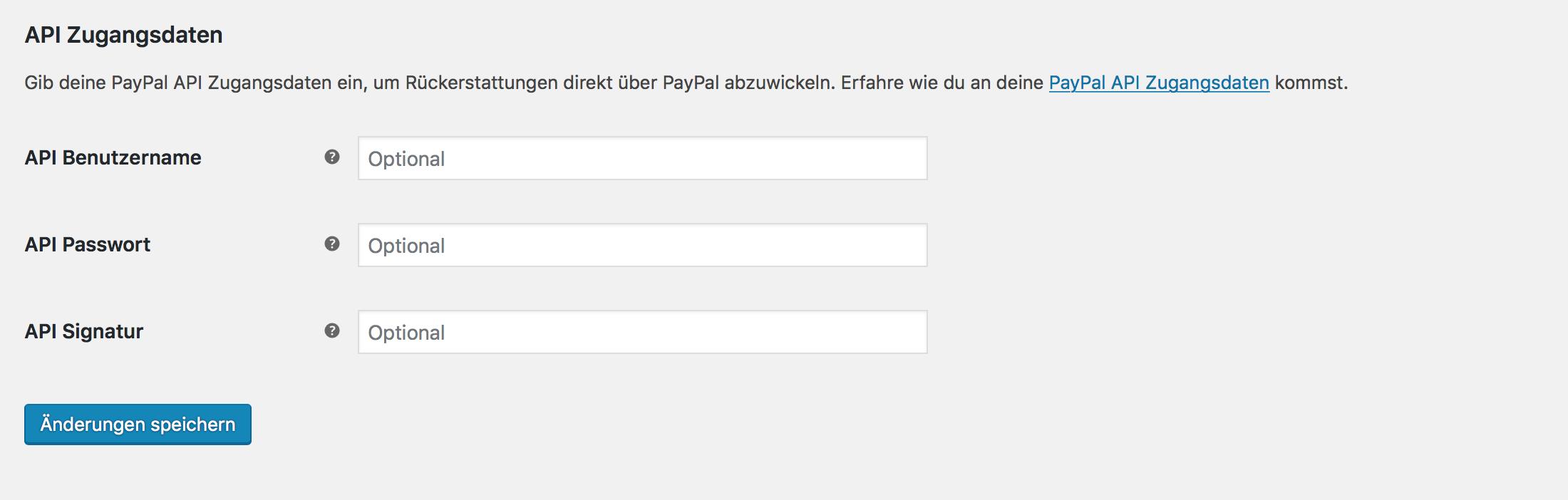 PayPal API Zugangsdaten eintragen