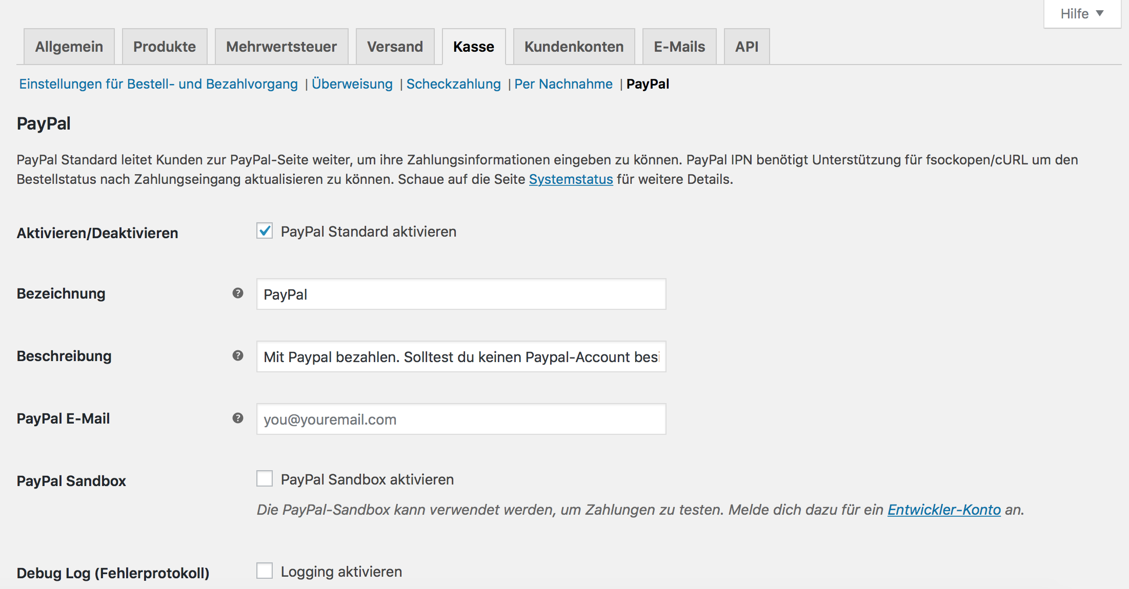 PayPal Integration unter WooCommerce