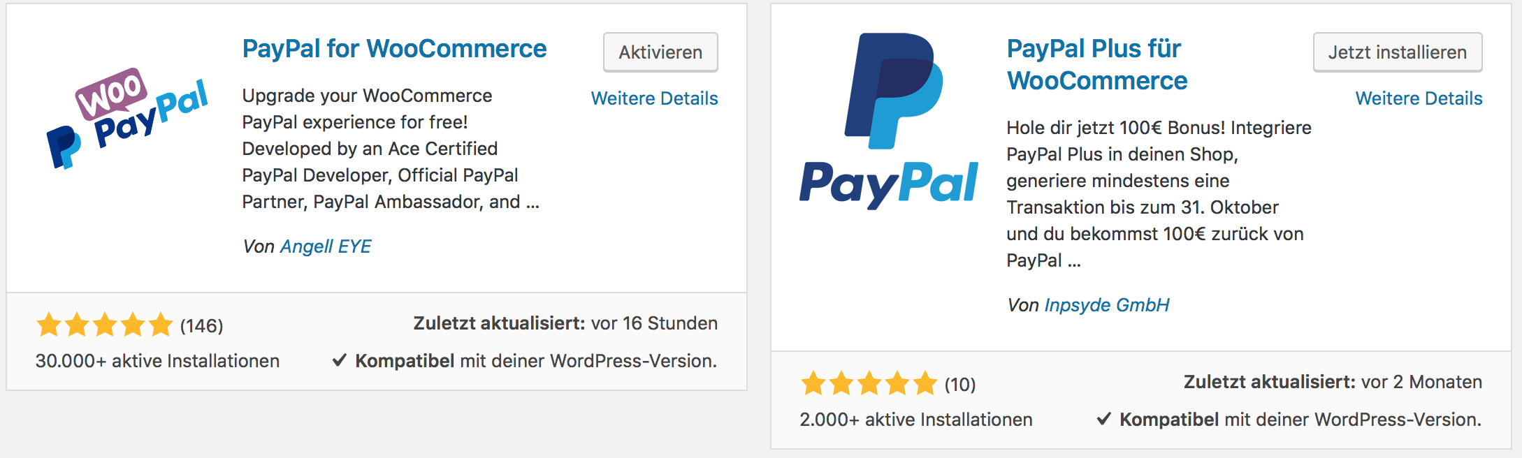 PayPal for WooCommerce und PayPal Plus für WooCommerce als Plugins
