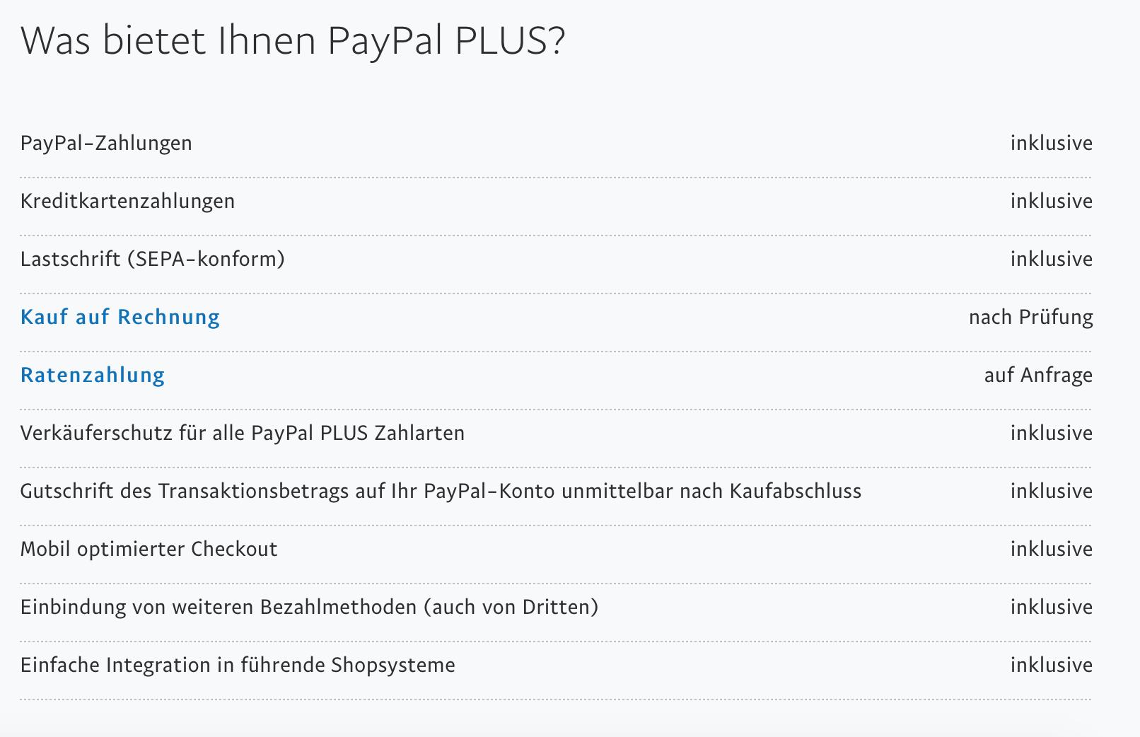 Zahlungsmethoden mit PayPal Plus