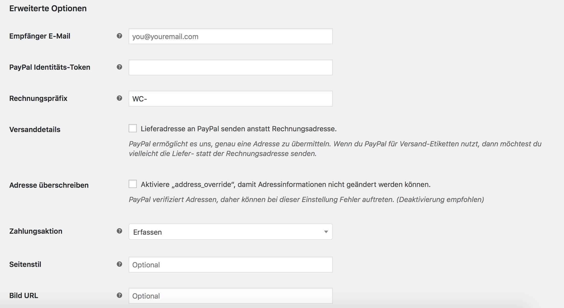 Erweiterte PayPal Einstellungen in WooCommerce