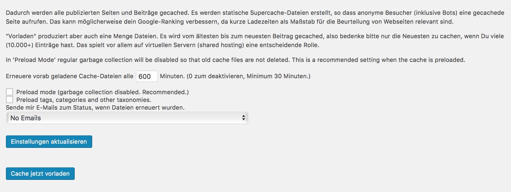 Preload Einstellungen für das Plugin WP Super Cache