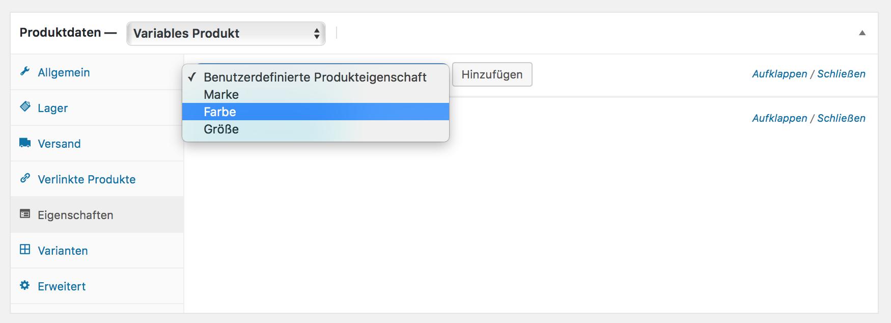 Benutzdefinierte Produkteigenschaften den Produkten hinzufügen