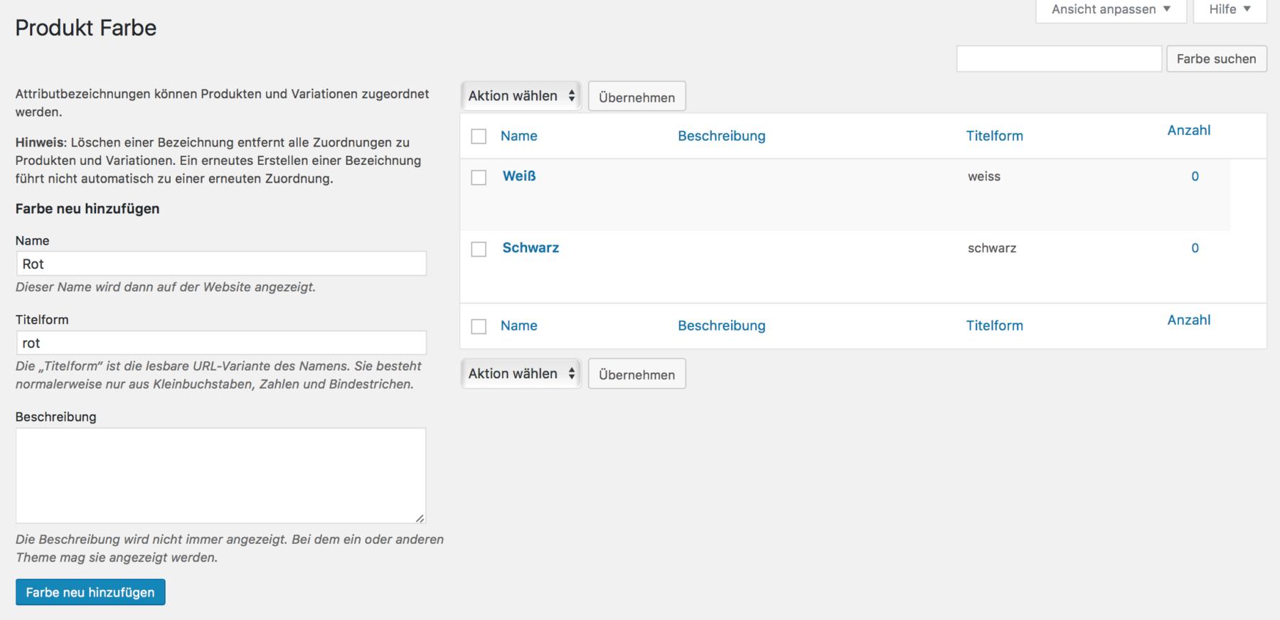 Produktfarben in WooCommerce konfigurieren