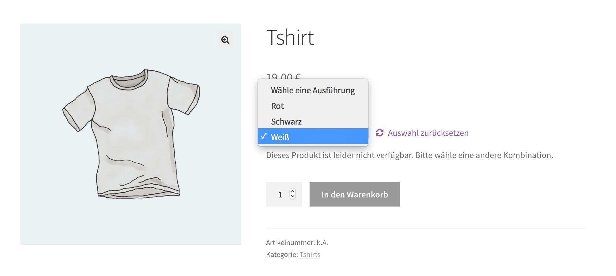 Produktvarianten eines T-Shirts im WooCommerce Onlinshop