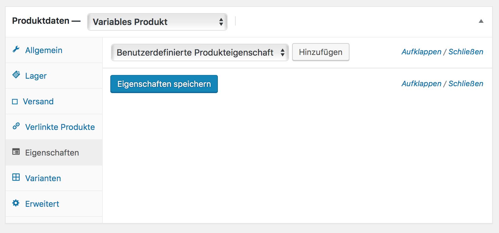 Variables Produkt konfigurieren und Produkteigenschaften anlegen
