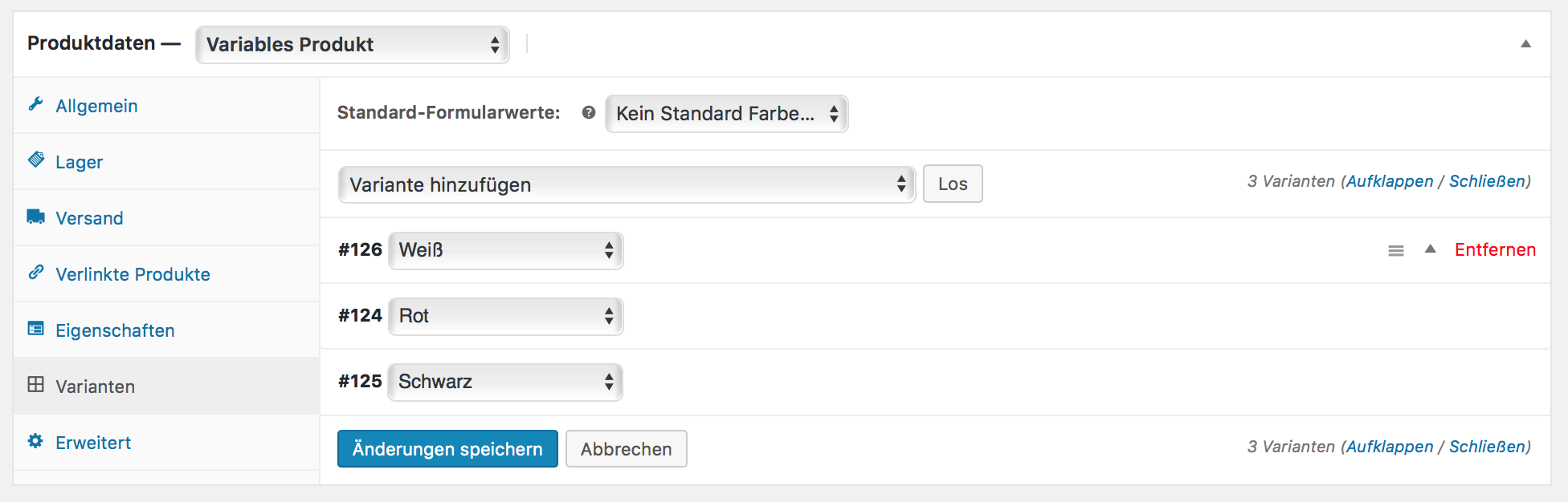 Benutzerdefinierte Produktvarianten hinzufügen