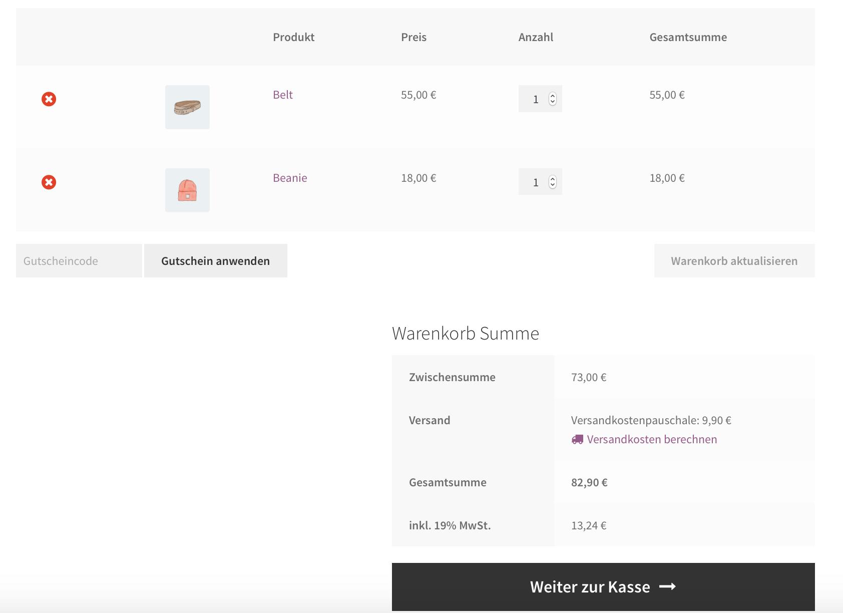 Versandkosten berechnen im WooCommerce Checkout