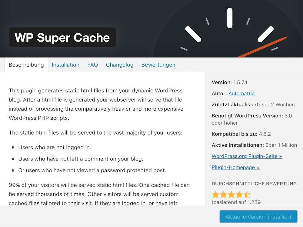 WordPress Performance mit WP Super Cache verbessern
