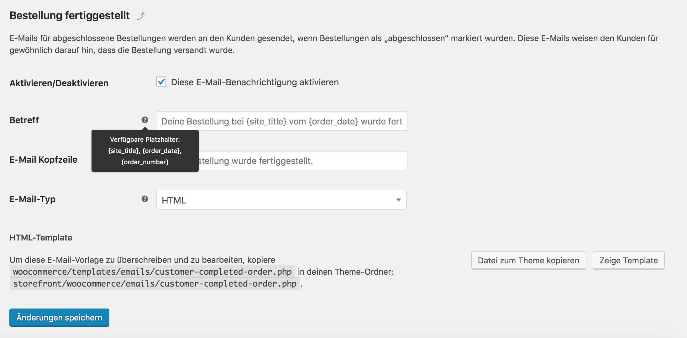 Anpassen der WooCommerce E-Mail Templates