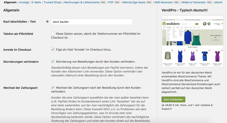 WooCommerce Germanized für rechtliche Anpassungen