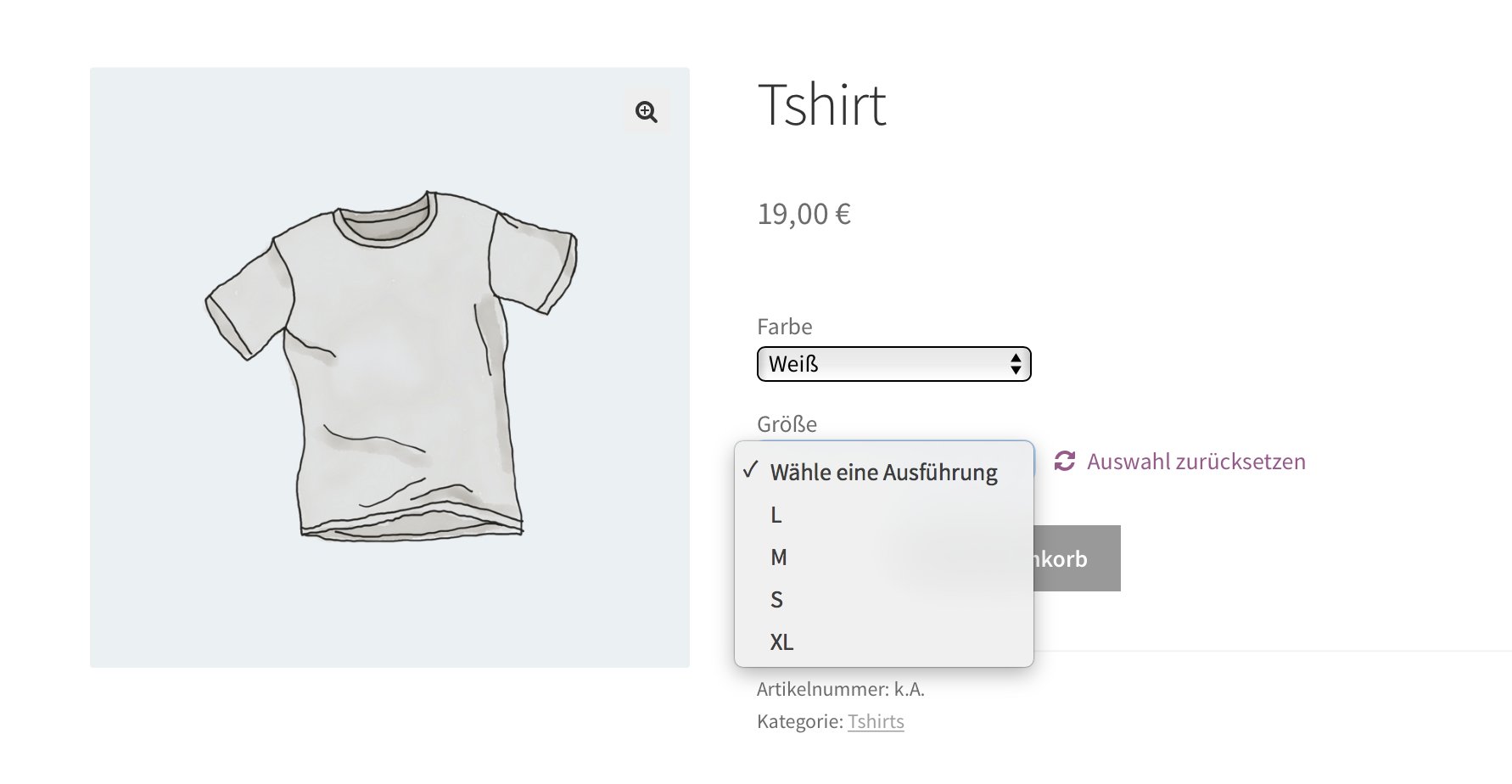Die fertigen Attributkombinationen im Frontend des Online Shops