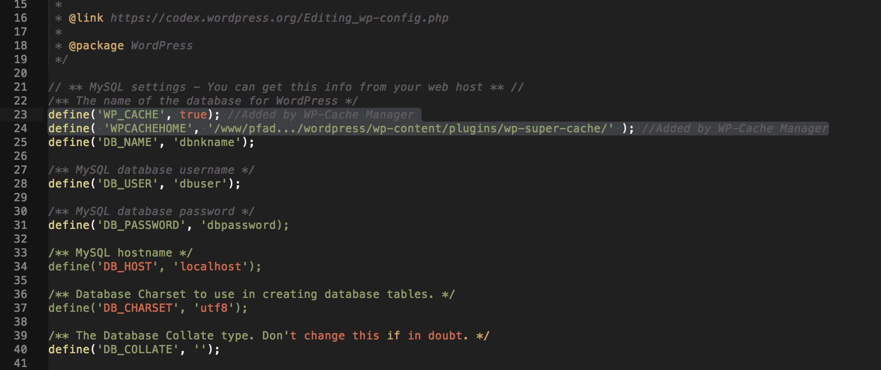 Codeanpassung der wp-config.php für Caching