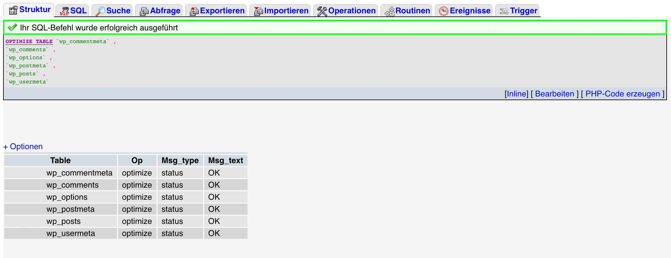 Die von WordPress optimieren Datenbanktabellen in der Übersicht